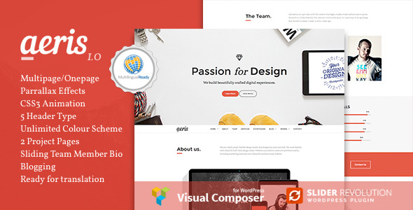 Aeris - Creative Parallax WordPress Theme