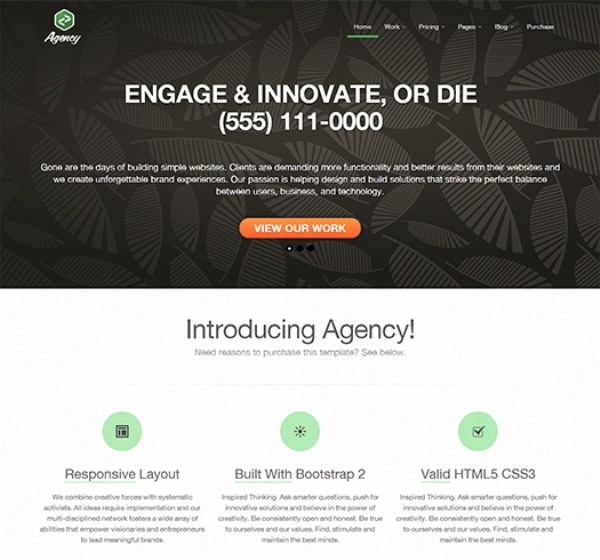 Free Responsive Twitter Bootstrap Business Agency Template