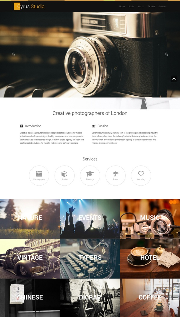 Photography free Bootstrap theme