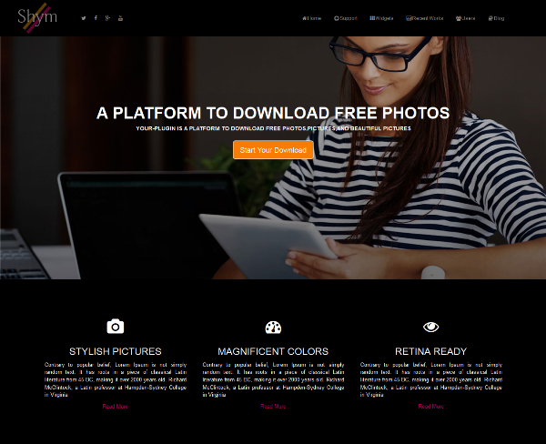 Shym- Free Responsive Bootstrap Landing Page Template