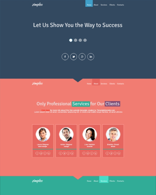Free Flat Design Website Template for Business Site