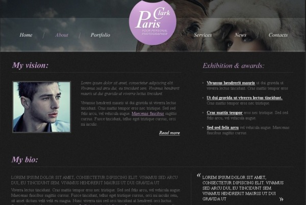 Photography HTML5 Website Template with Slider