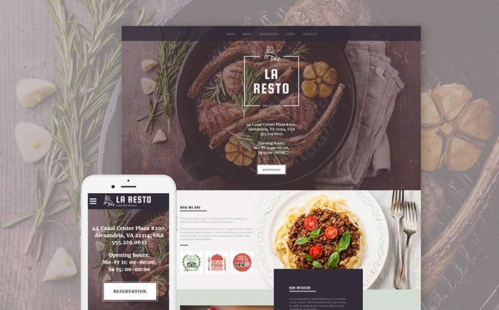 Cafe and Restaurant Responsive Website Template